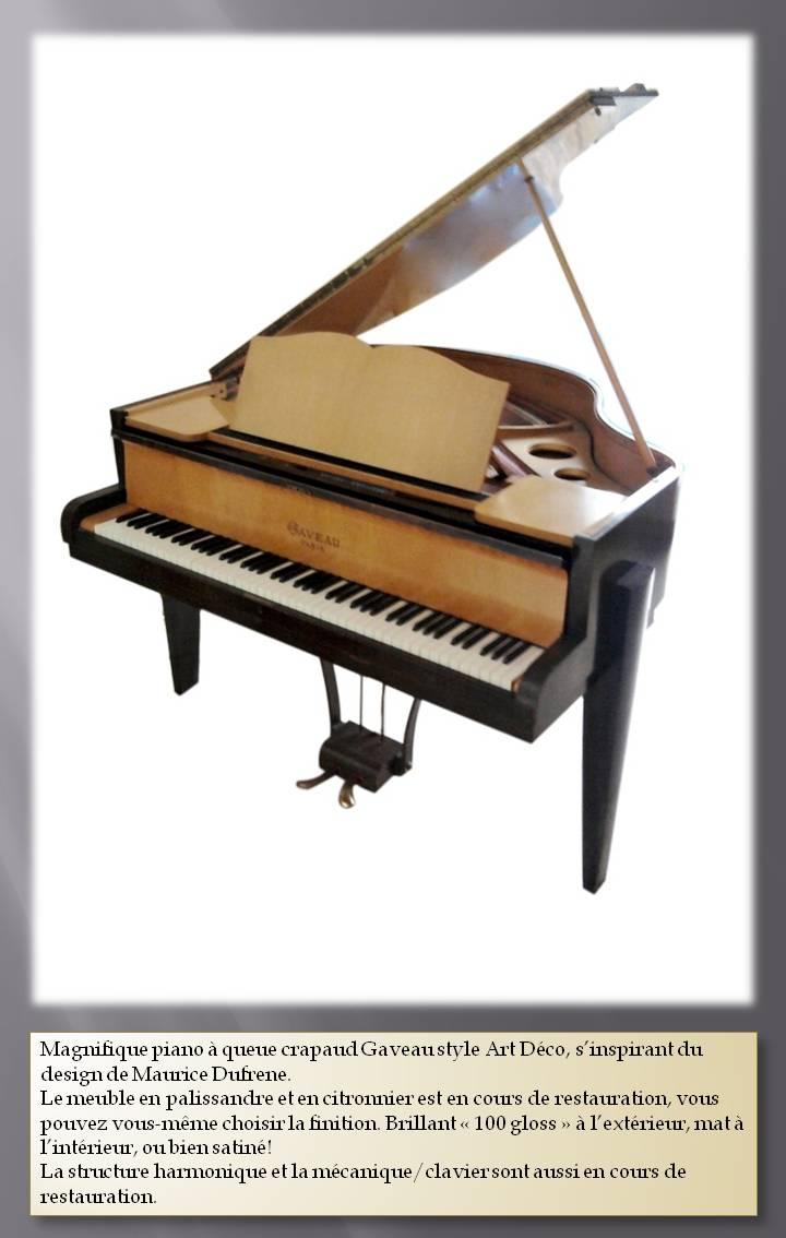 Piano, piano à vendre, piano à queue gaveau, piano crapaud gaveau